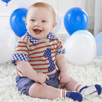 Baby Aspen BAS 紅灰條紋<b>1</b>歲紀念<b>3</b>件謎月禮盒組