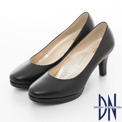 DN-簡約百搭-MIT牛皮素面減壓高跟鞋-黑