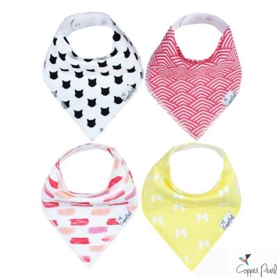 Copper Pearl 美國 粉黃筆刷貓咪雙面領巾圍兜口水巾4件組