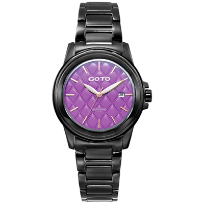 GOTO 法式時尚菱紋腕錶-紫x黑/37mm