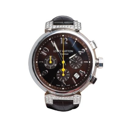 LV Q112G TAMBOUR鱷魚皮壓紋錶帶鏡面鑲鑽不鏽鋼自動計時腕錶(中-褐色)