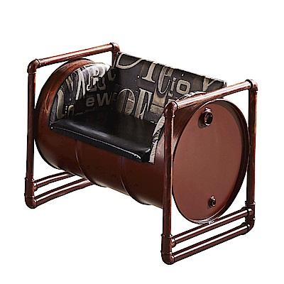 品家居 歐格工業風皮革沙發單人座-91x65x73cm免組
