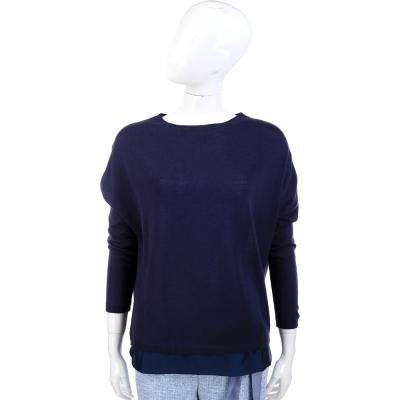 FABIANA FILIPPI 深藍色緞面下襬拼接設計羊毛上衣(100%LANA)