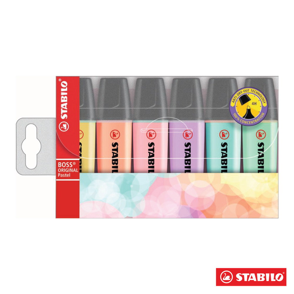 STABILO 螢光系 - BOSS 馬卡龍色 螢光筆6色