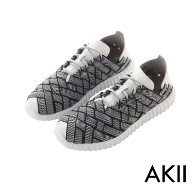 AKII韓國空運-超輕量微增高3.5CM晴雨兩用懶人休閒鞋-白黑