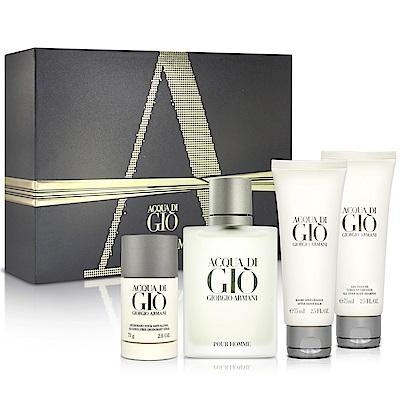 GIORGIO ARMANI寄情水男性淡香水奢華禮盒-送紙袋+針管隨機款