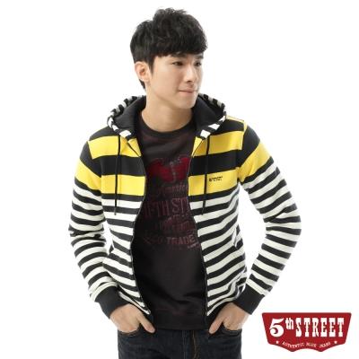 5th-STREET-條紋開襟連帽外套-男-黃色