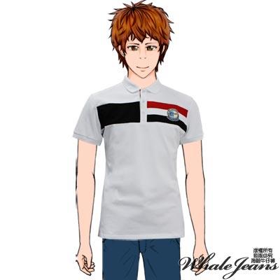 WHALE JEANS 男款簡單素面條紋圖章POLO衫(2色)