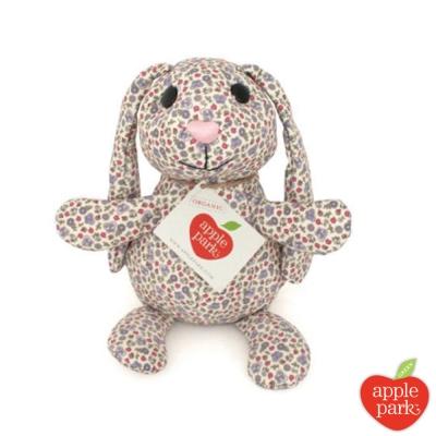 美國 Apple Park 有機棉印花玩偶禮盒 -  長耳兔(粉紫花園)