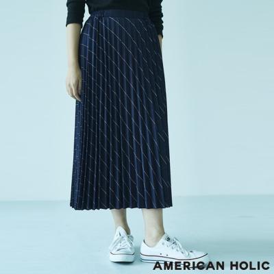AMERICAN HOLIC 素面/格紋配色百摺長裙