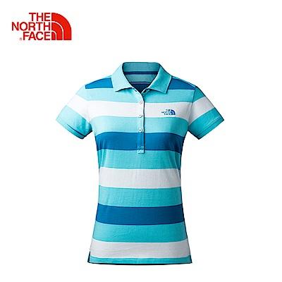 The North Face北面女款藍色吸濕快乾短袖POLO衫