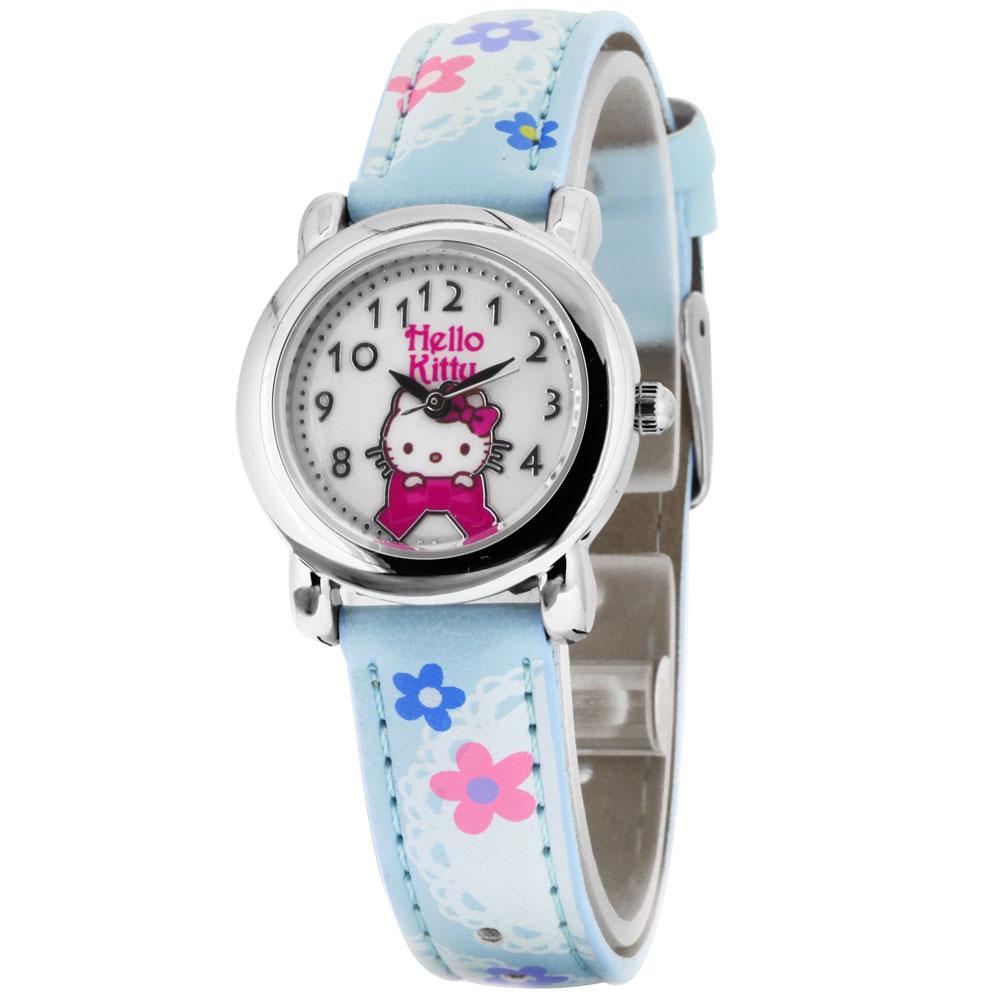 Hello Kitty 蕾絲花園俏麗腕錶-藍/28mm