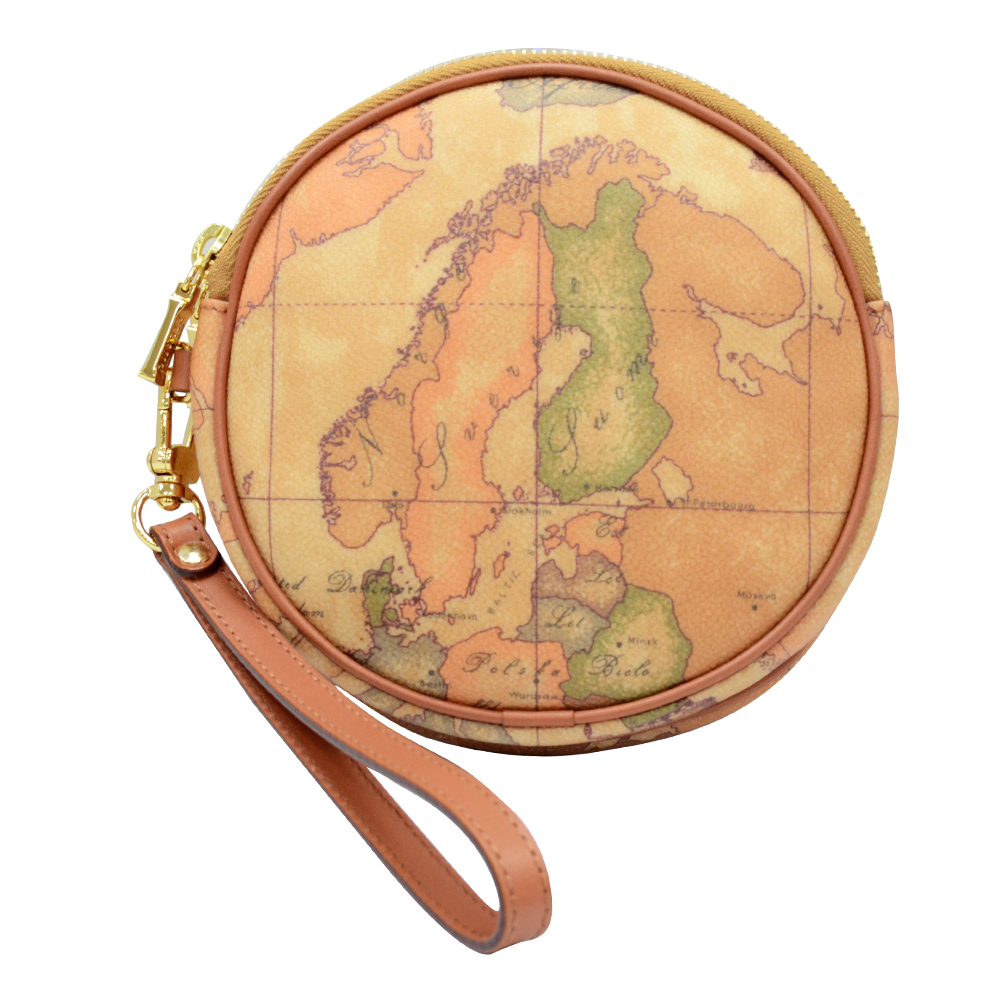 Alviero Martini 義大利地圖包 圓形拉鍊雙層手拿零錢包-地圖黃