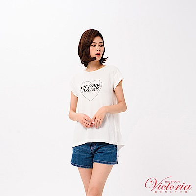 Victoria 後背打結變化落肩短袖T-女-白色