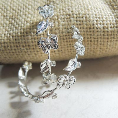 KOURIN花園系列-銀色鋯石蝶舞花園C型耳環