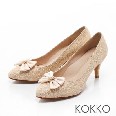 KOKKO-浪漫復古蕾絲手工蝴蝶結高跟鞋-裸膚