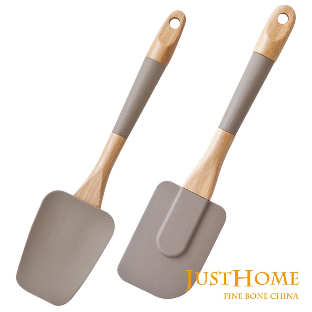 Just Home純色竹柄矽膠刮刀拌匙2件組