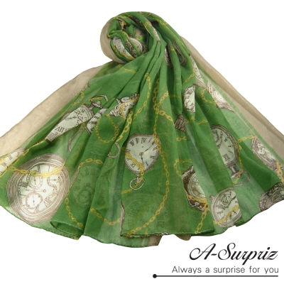 A-Surpriz-復古懷錶鎖鏈巴黎紗圍巾-草綠