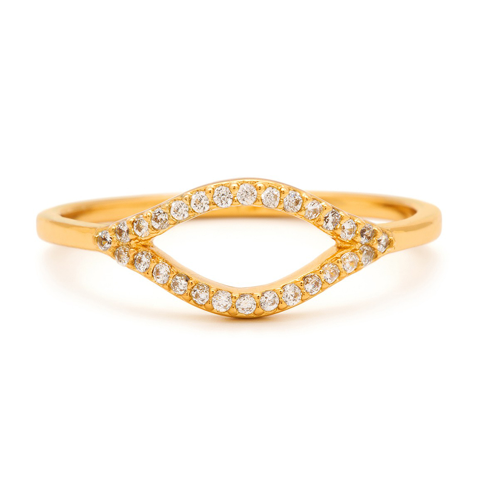 (福利品)Gorjana 馬眼 鑲細緻白鑽 金色戒指 鍍18K金