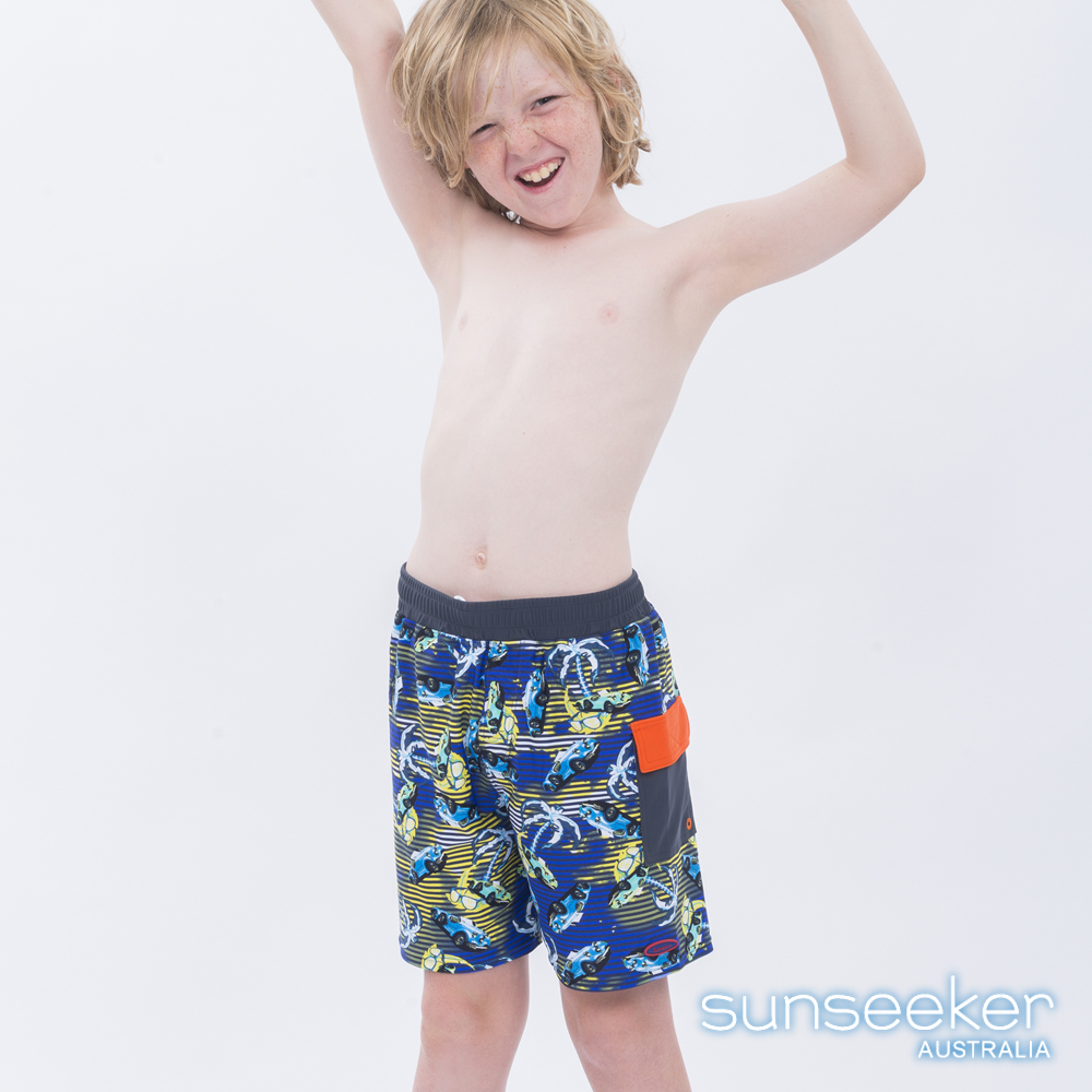 澳洲Sunseeker泳裝抗UV防曬衝浪泳褲-大男童泳褲/汽車橘