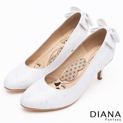 DIANA-漫步雲端LADY款-法式蕾絲婚宴跟鞋-白