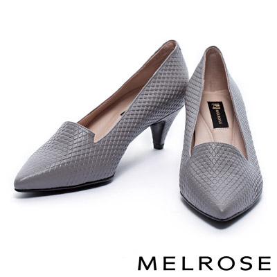 高跟鞋 MELROSE 質感三角壓紋羊皮尖頭高跟鞋 - 灰