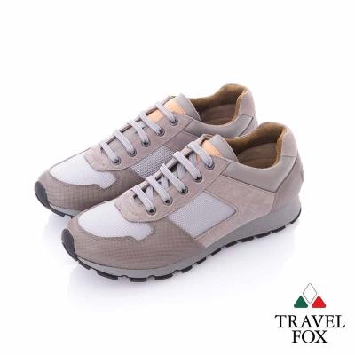 Travel Fox (男)輕勁走 牛皮雙料都會慢跑運動鞋-灰