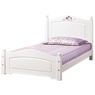 品家居 柏蒂3.5尺白色單人床台(不含床墊)