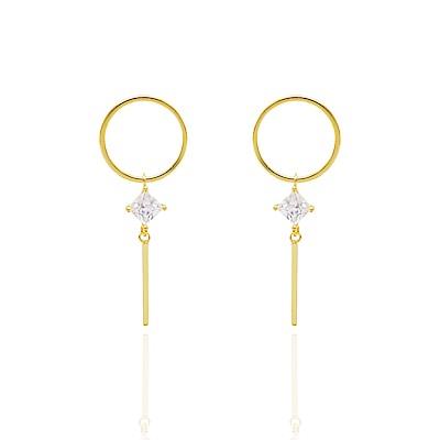 微醺禮物 耳環 銀針 簡約圓形 方鋯垂墜 耳針