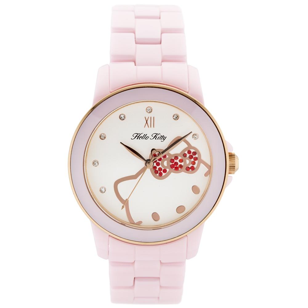 HELLO KITTY 凱蒂貓甜心夢幻陶瓷手錶-粉紅玫瑰金/36mm