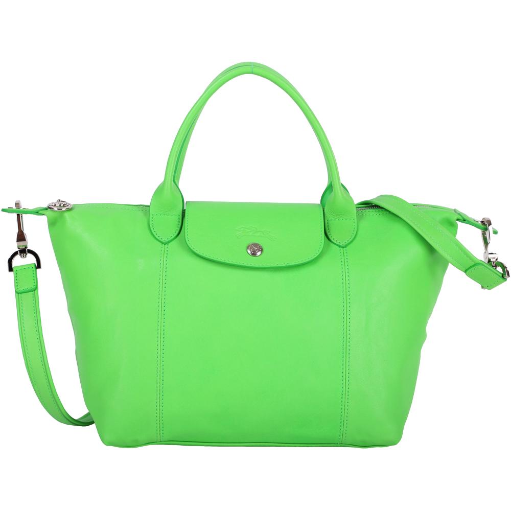 LONGCHAMP Le pliage Cuir 短把皮革摺疊兩用包(小/亮綠色)