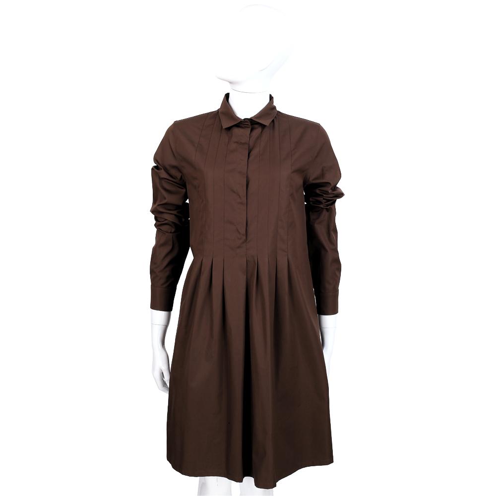 Max Mara 咖啡色抓褶長袖襯衫式洋裝