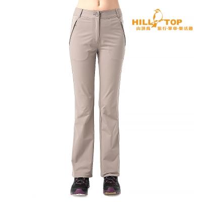 【hilltop山頂鳥】女款抗UV超潑水彈性長褲S07FE9淺土煤