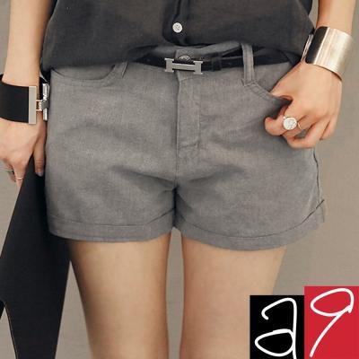 正韓-氣質灰棉麻舒適小短褲-灰色-a9