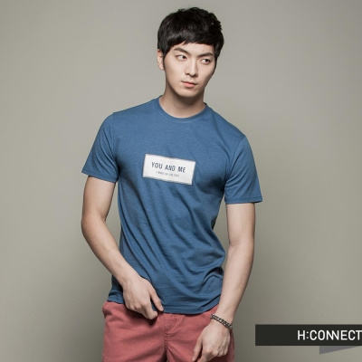 H-CONNECT-韓國品牌-CONNECT系列男裝-純色圖樣短袖上衣-藍-快