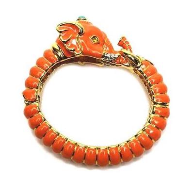 Kenneth Jay Lane 好萊塢巨星最愛 大象手環 珊瑚色 鑲水晶華麗搪瓷