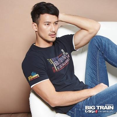 BIG TRAIN中大尺碼 加大浮世繪彩印文字圓領T-男-黑色