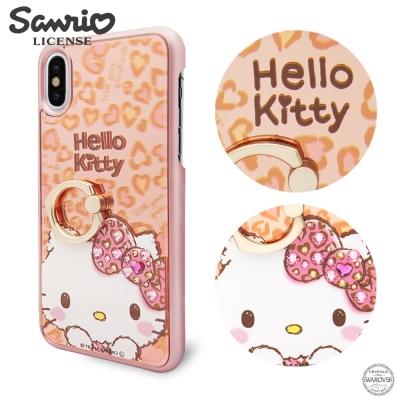 三麗鷗 iPhoneXS / iPhoneX 施華彩鑽鏡面指環扣手機殼-豹紋凱蒂
