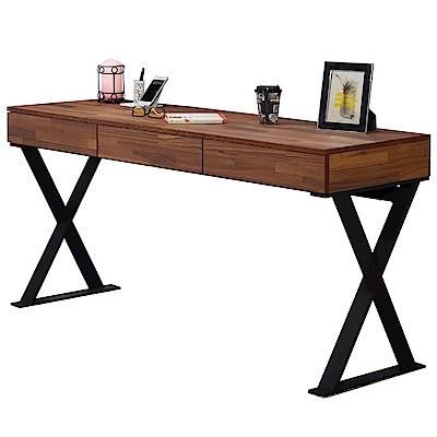 AT HOME - 享利5尺柚木集層三抽書桌 150x50x75cm