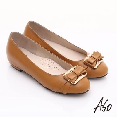 A.S.O 輕透美型 真皮金屬結飾內增高平底鞋 卡其