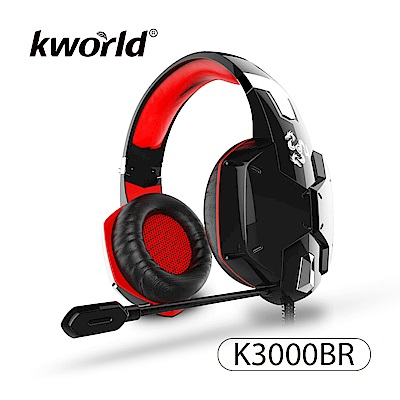 Kworld 廣寰 玩家級電競耳麥 K3000-BR《黑紅》