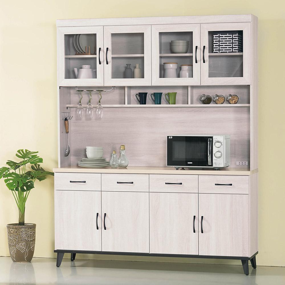 H&D 鋼刷白5.3尺碗櫃組 (寬160.4X深43X高202.2cm)