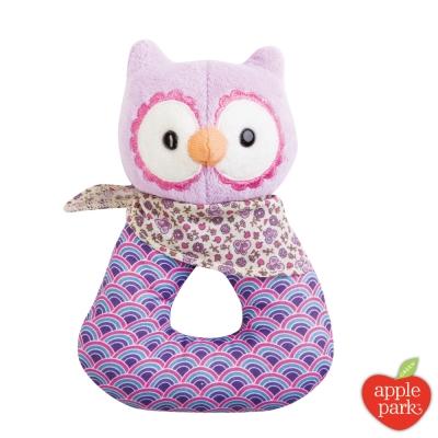 美國 Apple Park 有機棉手搖鈴啃咬玩具禮盒 - 粉紫貓頭鷹
