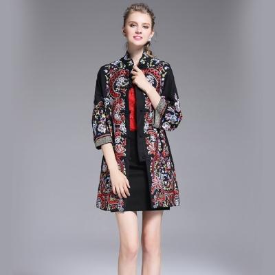 民族風重工刺繡寬鬆中袖外套M-3XL-共二色-糖潮