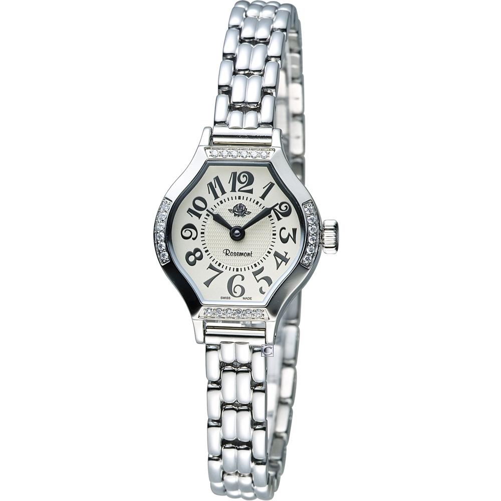 Rosemont 玫瑰錶茶香玫瑰系列IV 酒桶型時尚錶-銀色/22x23mm