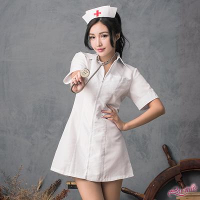 護士服 白色連身拉鍊式護士角色扮演服二件組(白F) Lorraine
