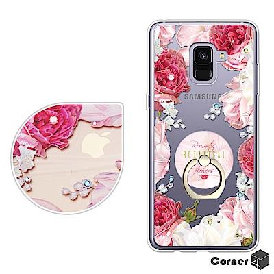 Corner4 Samsung A8+ 2018 奧地利彩鑽指環扣雙料手機殼-芙...