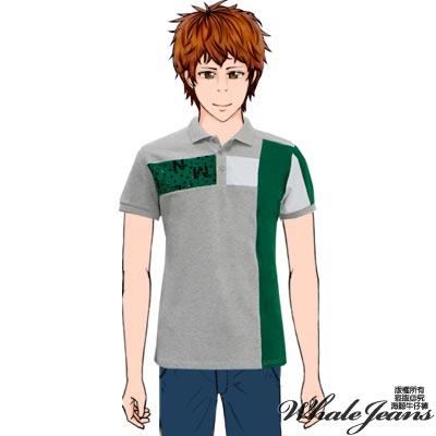 WHALE JEANS  男款簡約美式休閒拼接配色POLO衫(2色)