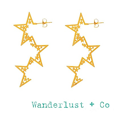 Wanderlust+Co 澳洲品牌 金色星星耳環 垂墜式繁星耳環 SUPERNOVA