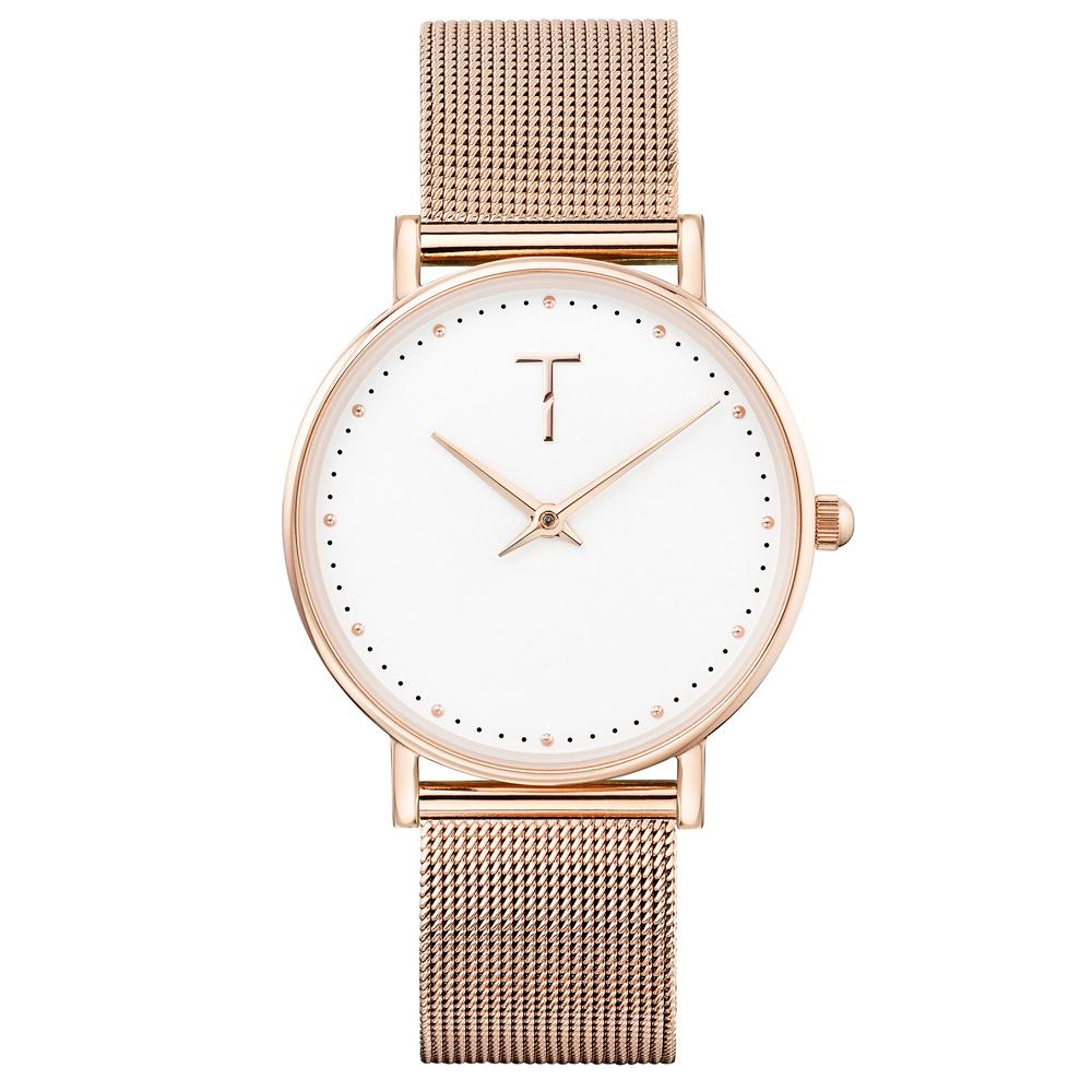 TYLOR 動人時尚米蘭帶手錶-白X玫瑰金/33mm